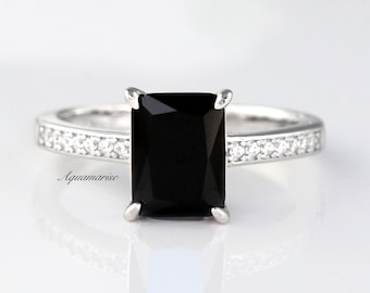 Classic Black Spinel Ring Anniversary Men Black Spinel Ring Promise Ring Round Sterling Silver Ring Black Gemstone Ring