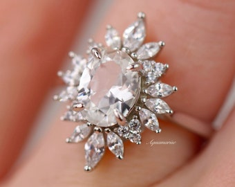 Aurora White Sapphire Ring- Sterling Silver Ring- Genuine Sapphire Engagement ring - Promise Ring- September Birthstone Gift For Her