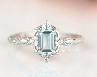 Vintage Natural Aquamarine Ring- Sterling Silver Ring- March Birthstone- Aquamarine Engagement Ring- Promise Ring-Anniversary Gift For Her
