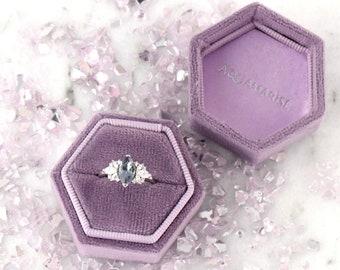 Luxury Velvet Hexagon Ring Box -  Wedding Band Elegant Keepsake Box- Bridal Photo Detail- Ring Bearer Gift- Purple Ring Box