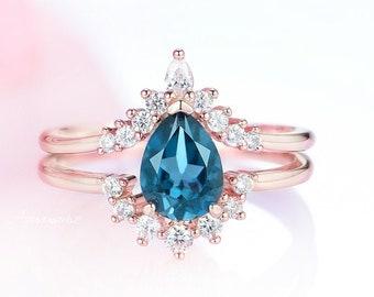 Minimalist Blue Topaz Ring in 14k Gold Dainty Promise Ring Topaz Promise Ring for Women Pear Shape London Blue Topaz And Diamond Ring