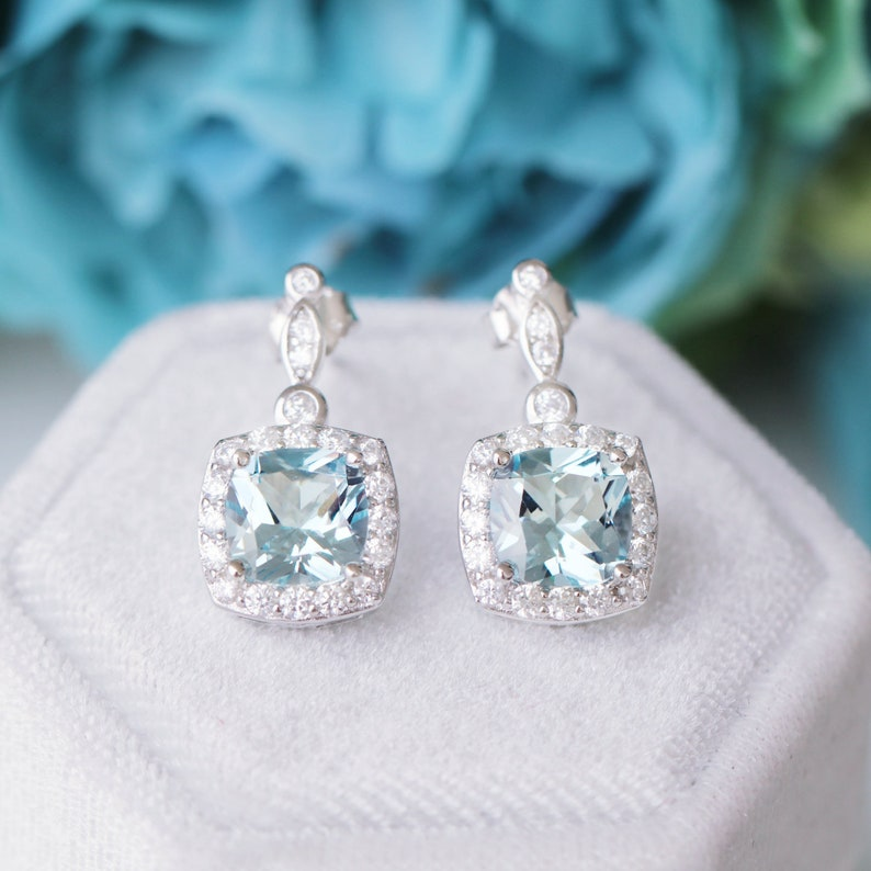 Aquamarine Jewelry Set Gift For Her Elegant Designer Jewelry March Birthstone Sterling Silver Jewelry Set Ring Pendant Earrings
