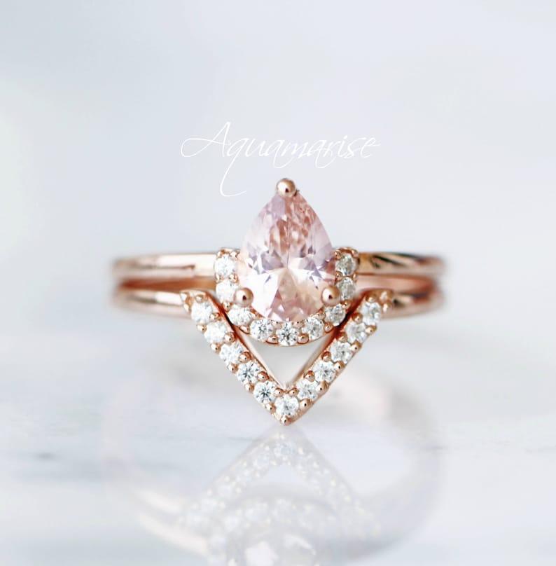 47851d940b662 Morganite Ring Set- 14K Rose Gold Vermeil Ring Set- Teardrop Morganite  Ring- Wedding Ring Set- Engagement Promise Ring- Stackable Ring Set