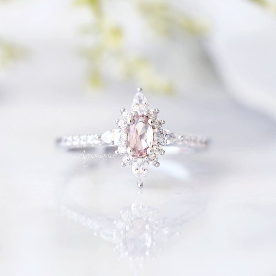 Anniversary Gift Princess Morganite Ring Birthday Gift For Her Engagement Ring Promise Ring Sterling Silver Ring Pink Gemstone