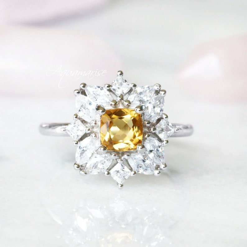 Gift ForHer Anniversary Birthday Gift Engagement Ring Promise Ring November Birthstone Sterling Silver Ring Floral Natural Citrine Ring
