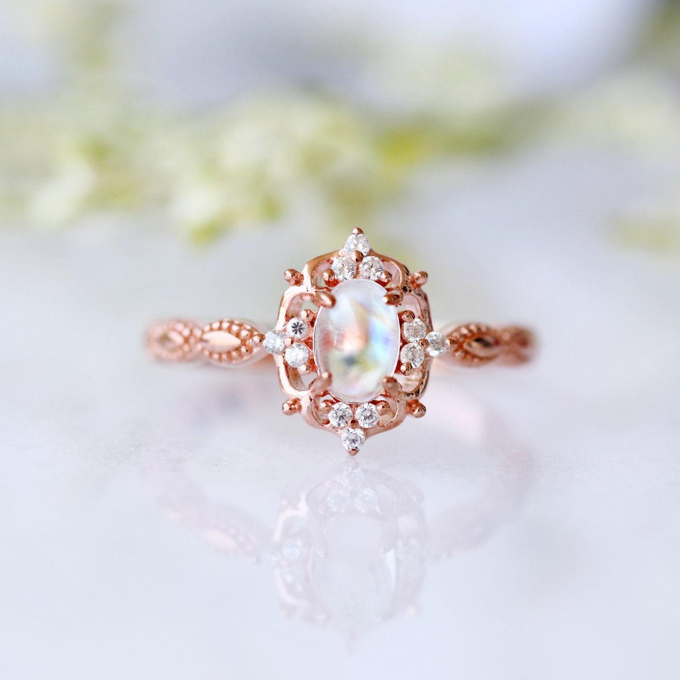 Ring for Her Natural Moonstone Ring in 14K White Gold Plated for Women Engagement Ring Promise Ring Gift For Her June Birthstone