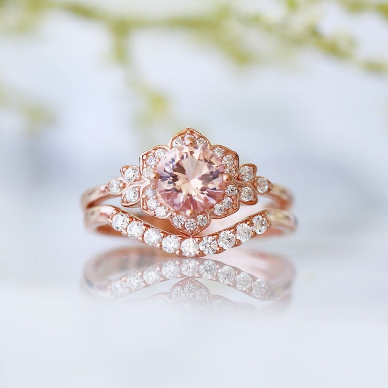 a289796f0eb7f Vintage Morganite Ring Set- 14K Rose Gold Vermeil Morganite Ring Set- Art  Deco Ring- Engagement Ring Set- Anniversary Birthday Gift For Her