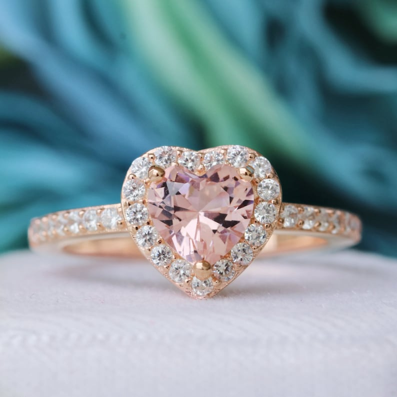 a131fbf1dc97e Heart Morganite Ring - 14k Rose Gold Vermeil Ring- Heart Shaped Ring-  Engagement Promise Love Ring- Anniversary Birthday Gift for Her