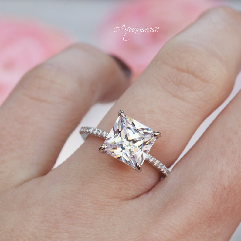 Princess Cut Diamond Ring Sterling Silver Ring Engagement image 1