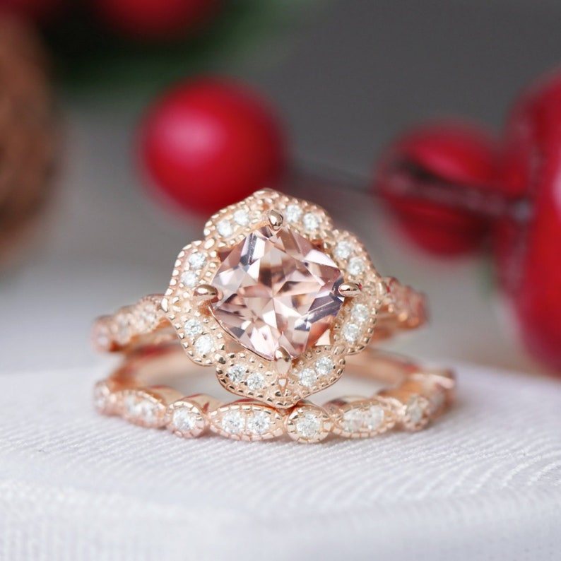 4a314bb4814ac Art Deco Morganite Ring Set- 14k Rose Gold Vermeil Ring- Engagement Ring-  Promise Ring- Vintage Inspired- Anniversary Birthday Gift For Her