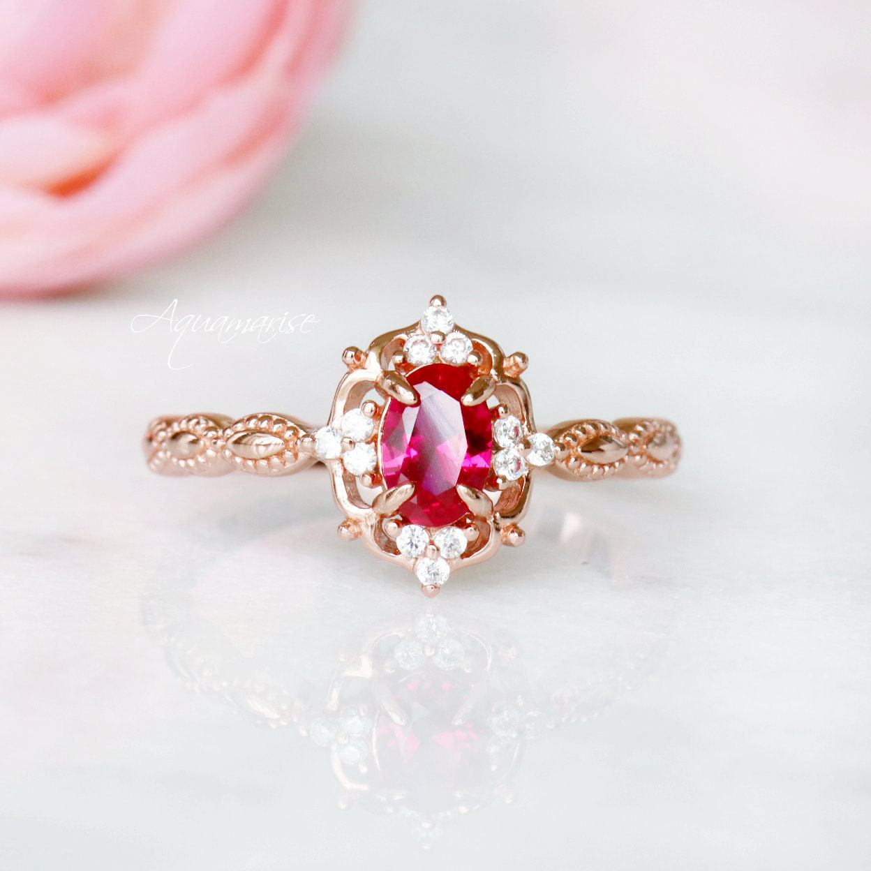 Rose Gold Round Ruby Wedding Ring Art Deco Round Simulated Diamond Ruby Sterling Silver Halo Engagement Wedding Promise Ring