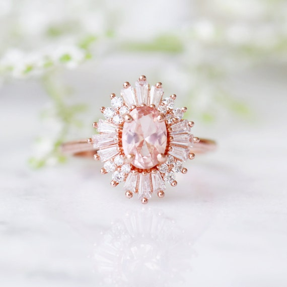 50f2d2c8f5446 Victoria Morganite Ring- 14K Rose Gold Vermeil Ring- Art Deco Engagement  Promise Ring- Vintage Ring- Pink Gemstone- Anniversary Gift For Her