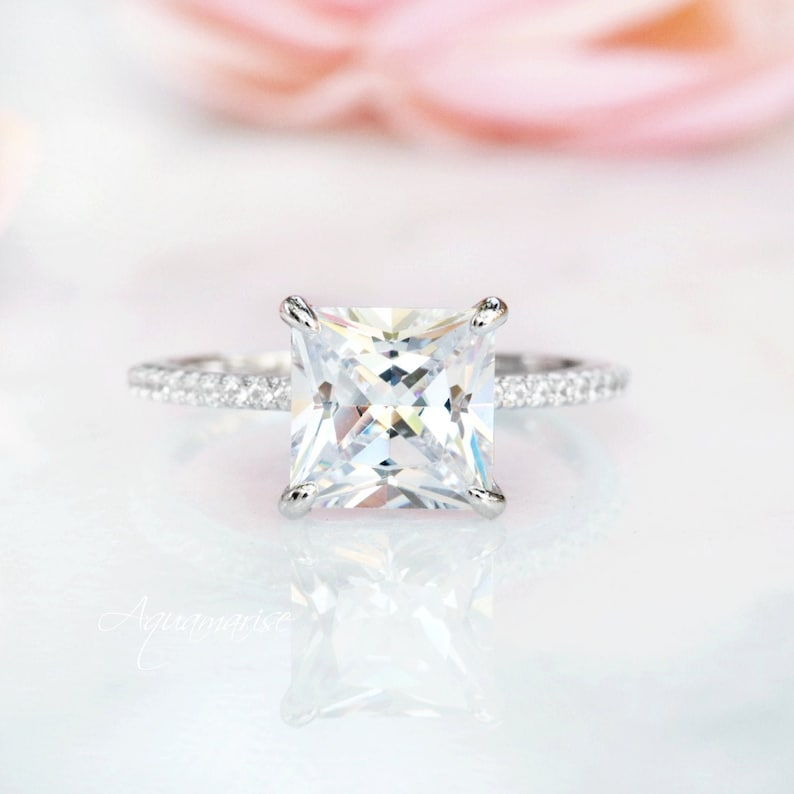 Princess Cut Diamond Ring Sterling Silver Ring Engagement image 0