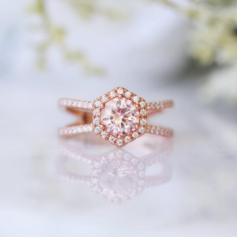 15936e23e2479 Morganite Ring- 14K Rose Gold Vermeil Ring- Hexagon Split Shank Ring- Round  Engagement Promise Ring- Pink Gemstone- Anniversary Gift For Her