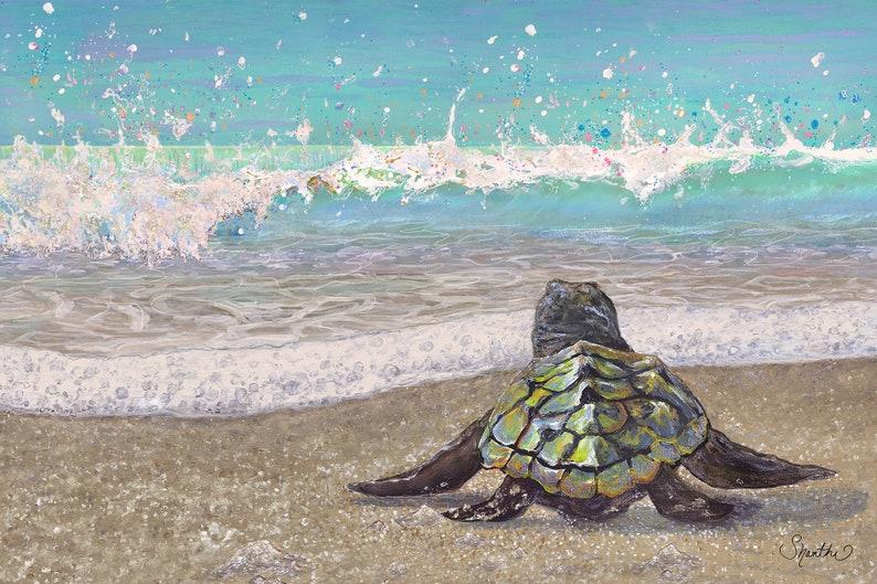 "Art Print: ""Baby Sea Turtle's First Splash"""