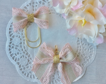 Pink lace bow clip or bow charm