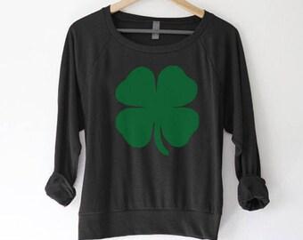 bc457d2ca St Patricks Day Shirt Women - St Patricks Day Sweatshirt Women - Clover  sweater - Four Leaf Clover Sweatshirt - Clover shirt - Womens shirt