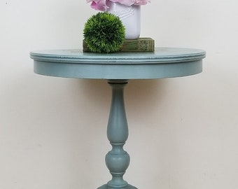 Blue Accent Table / Vintage Blue Table / Blue Side Table / Round Accent  Table / Living Room Table / Bedside Table / Entryway Table