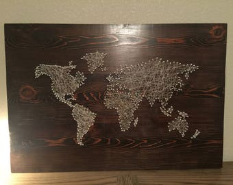 String art world map etsy world map string art gumiabroncs Choice Image