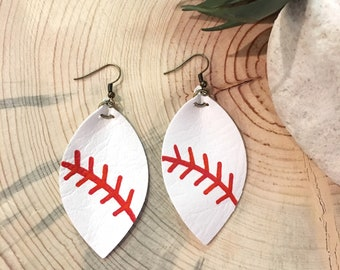 Baseball leather earrings | softball earrings | Baseball Mom