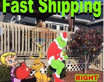 stealing christmas lights yard art decor creeping right facing grinch max cindy lou - Grinch Christmas Yard Decorations