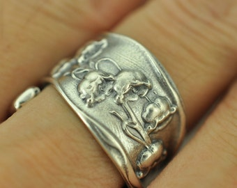 Beautiful 925 Sterling Silver Lily Of The Valley Flower Floral Spoon Ring