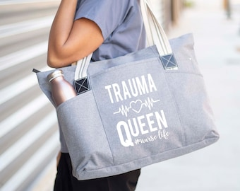 Large Zippered Tote Bag With Side Pockets for Nurses - Perfect for Work, Gifts for CNA, RN, Nursing Students - Trauma Queen