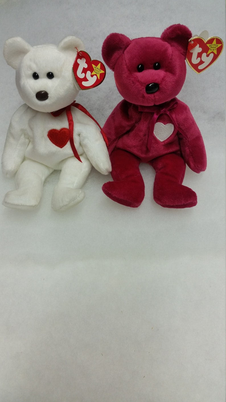 VALENTINO and VALENTINA beanie babies with rare errors  df2df6b3714