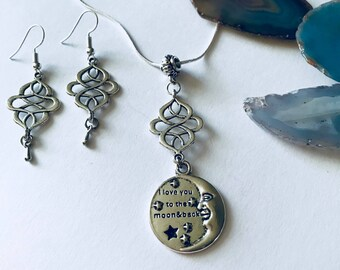 To the Moon and Back, Silver Moon Necklace, Celestial Jewelry, Love Jewelry Set, Moon Necklace, Handmade Jewelry Gift, Mom Gift, Jewelry Set