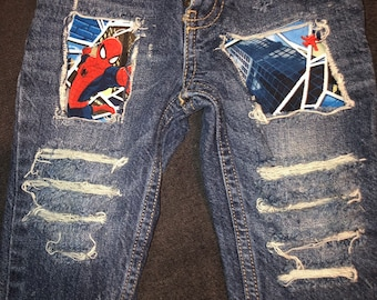 38e513083 Spider-man Distressed jeans