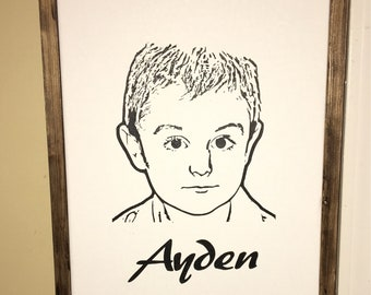 Custom vinyl canvas portrait with custom made frame