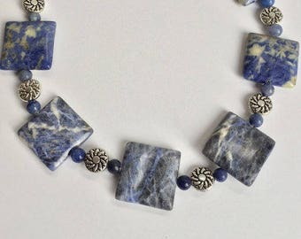 Chunky Blue and Silver Sodalite Statement Necklace
