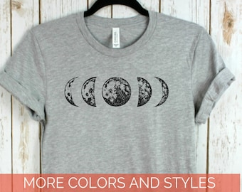 72838bf643a1 Moon phase Shirt, Hand drawn phases of the moon, Graphic Tee, Crew neck or V -neck, Mens Ladies Unisex Bella Canvas, Gifts, Moon shirts.