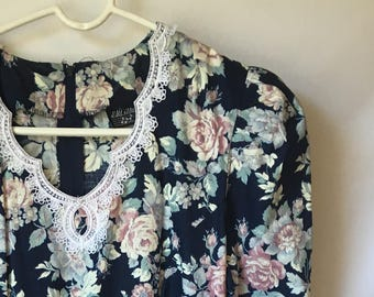 vintage NAVY PINK FLORAL Dress Lace Collar Girls Size 9-10 1980s