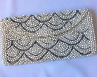 vintage PEARL SILVER BEADED clutch 1950s handbag flapper Art Deco inspired