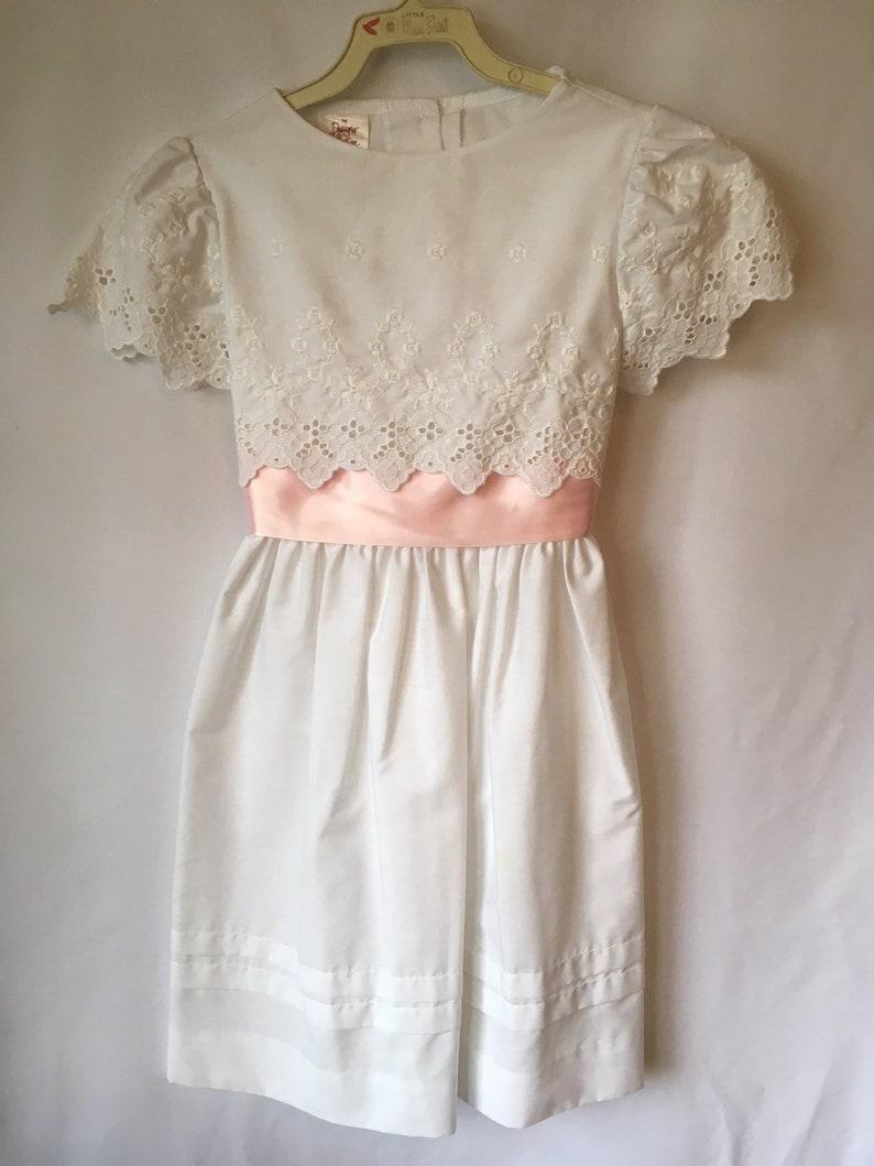 e19a5ceb76a Vintage WHITE EYELET LACE Girls Easter Pink Ribbon Dress Size
