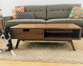 Modern Walnut Coffee Table | Solid Hardwood Mid Century Modern Minimalist |  Made To Order