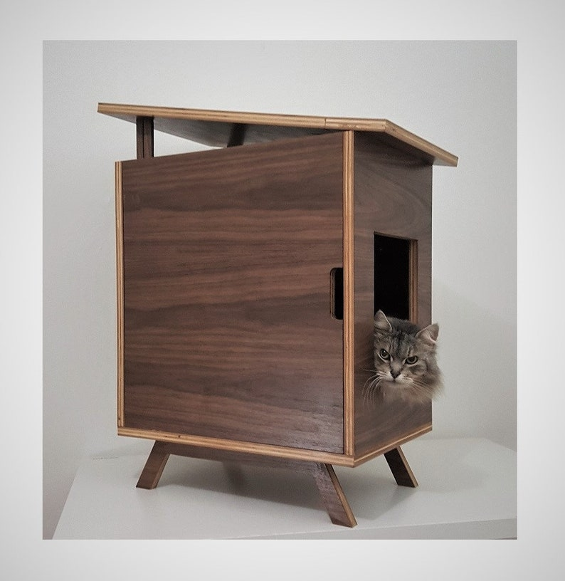 punypanther - eichler inspired cat house | litterbox cabinet | cat bed |  dog house | mid-century modern minimalist walnut