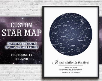 Personalized Star Map Sky Print Gift Birthday Poster Digital Art