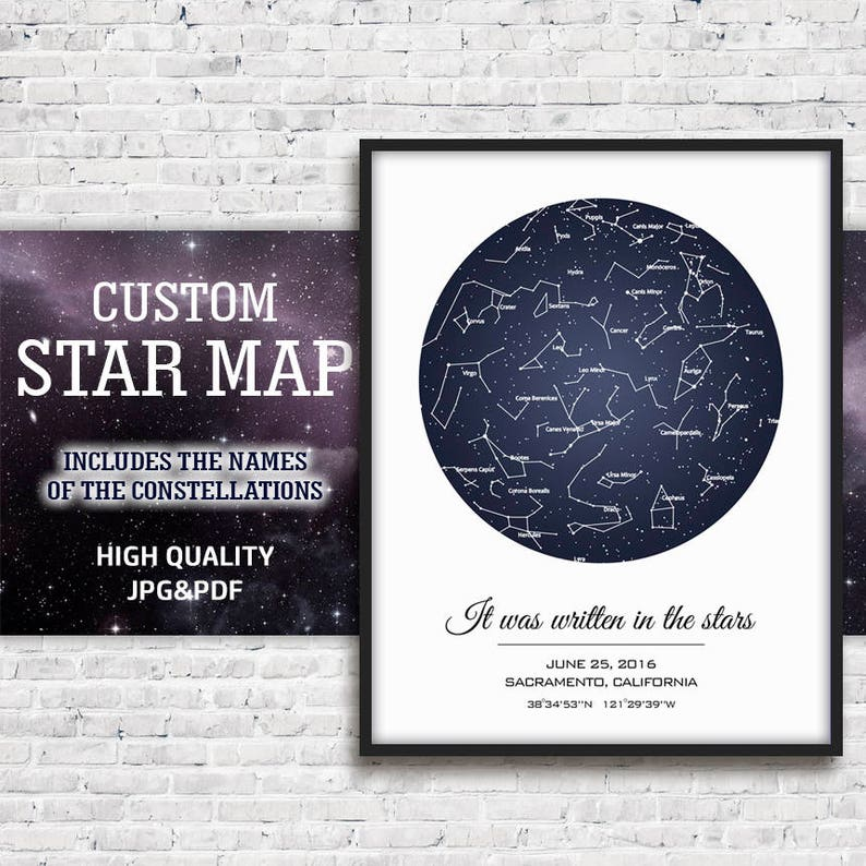 Personalized Star Map Sky Print Gift