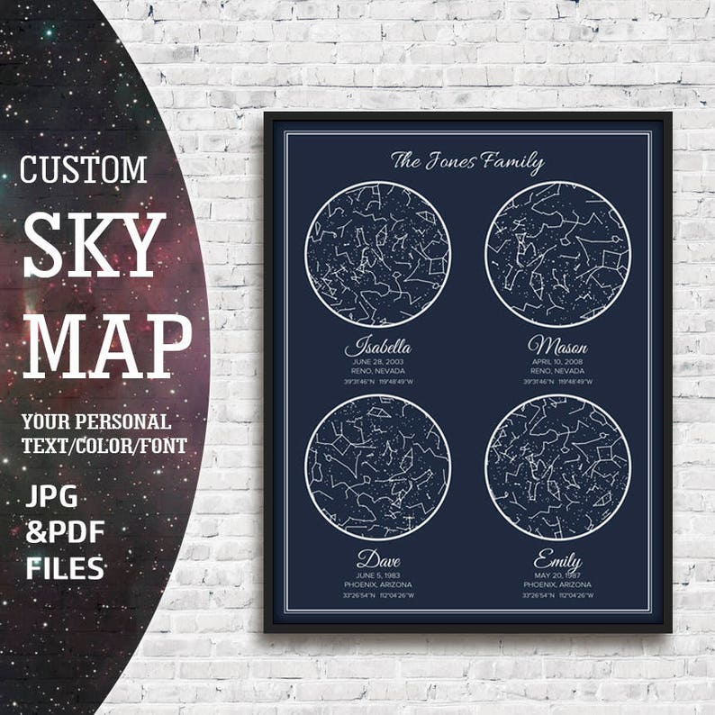 Sky Map Custom Star Birthday Printable Night