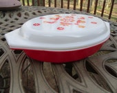 Vintage Pyrex Friendship Orange Divided Casserole Dish w Lid 1 Quart Made in USA