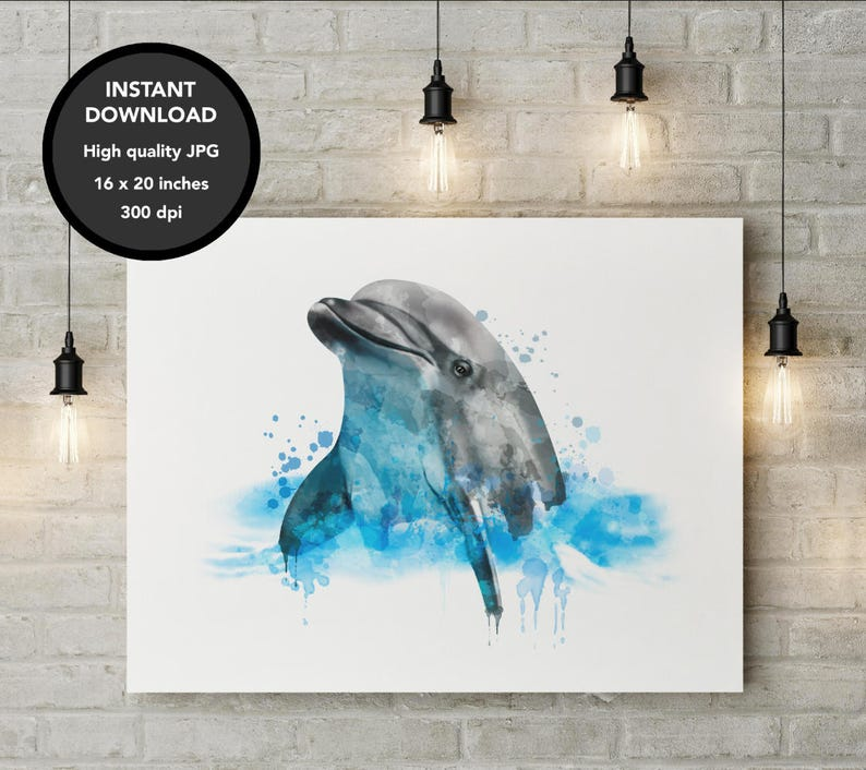 58416efc81a Dolphin Watercolor Printable Dolphin DIGITAL FILE image 0 ...