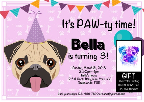 Pug Party Invitation Pug Birthday Invitation Digital Files Etsy