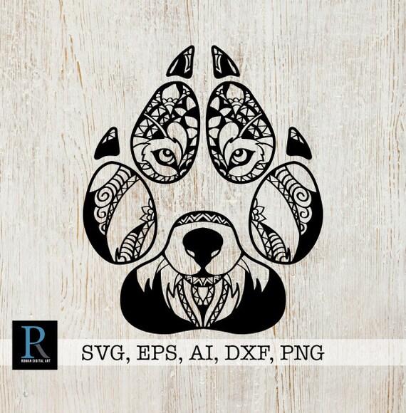 Zentangle Wolf Paw Svg Mandala Wolf Paw Svg Etsy