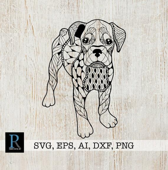 Boxer Dog Zentangle Svg Boxer Dog Mandala Svg Etsy