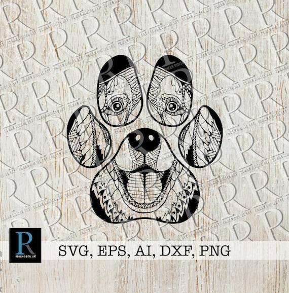 Zentangle Dog Paw Svg Mandala Dog Paw Svg Etsy
