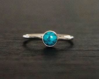 Indian, Silver & Turquoise Simple Ring