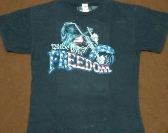 38d94b9ab8 1990s   Vintage 90s Bikers Ride On Freedom   US flag bikers Tshirt   statue  of liberty riding bike
