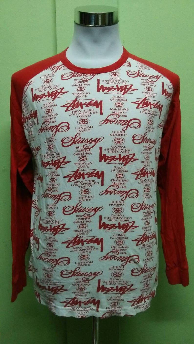 828bcfc3 Vintage 90s STUSSY t shirt raglan full print pop art long | Etsy